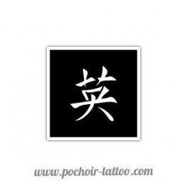 Pochoir signe chinois courage