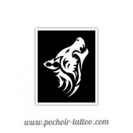 Pochoir Tête De Loup Tribal Pochoir Tattoo