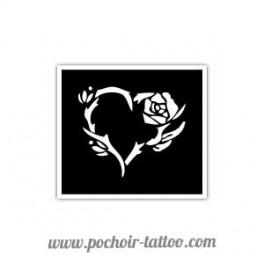 Pochoir Rose Coeur